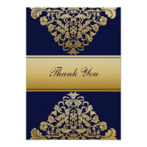 """navy blue"" gold wedding ThankYou Cards"