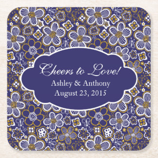 Navy Blue Gold White Floral Personalized Wedding Square Paper Coaster