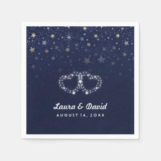 Navy Blue Gold & White Hearts & Stars Wedding Paper Napkin