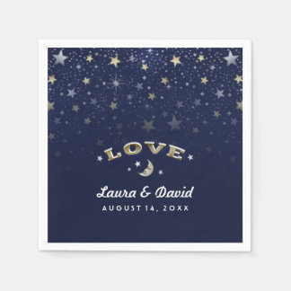 Navy Blue Gold & White LOVE Moon & Stars Wedding Napkin