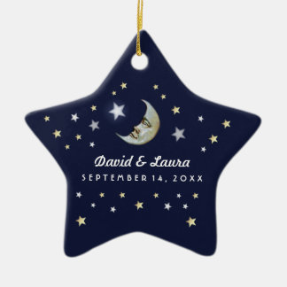 Navy Blue Gold & White Moon & Stars Wedding Custom Ceramic Ornament