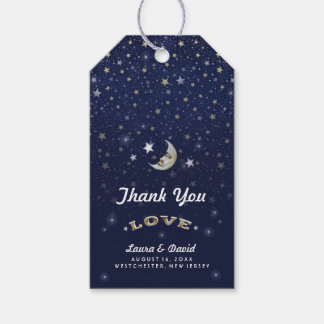 Navy Blue Gold & White Moon & Stars Wedding Gift Tags