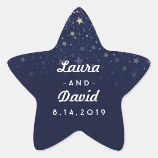 Navy Blue Gold & White Stars Wedding Names & Date Star Sticker