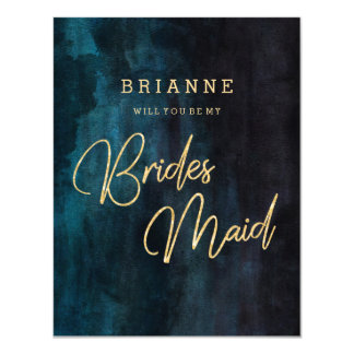 Navy Blue & Gold Will You Be My Bridesmaid Card