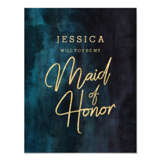 Navy Blue & Gold Will You Be My Maid of Honor Invitation