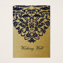 """navy blue"" gold wishing well cards"