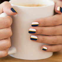 Navy Blue, Gold Yellow, White Stripe Minx Nail Wraps