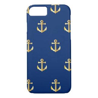 Navy Blue Golden Anchors iPhone 7 Case