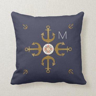 Beach Themed navy blue golden anchors nice throw pillow