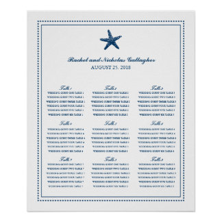 Navy Blue Graceful Starfish 20 x 24 Seating Chart Poster
