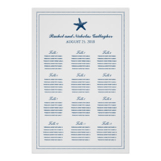 Navy Blue Graceful Starfish 24 x 36 Seating Chart Poster