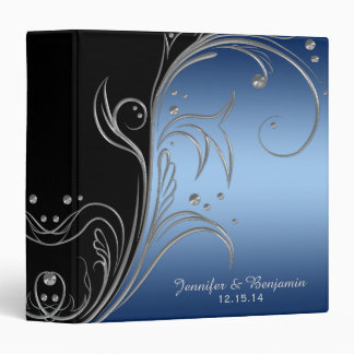 Navy Blue Gradient Black Silver Scrolls Album Binder