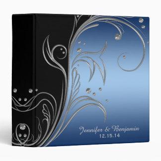 Navy Blue Gradient Black Silver Scrolls Album Binder