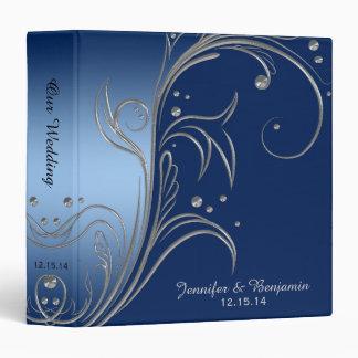Navy Blue Gradient Ombre Silver Scrolls Album 3 Ring Binder