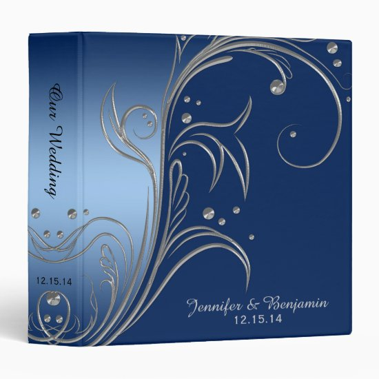 Navy Blue Gradient Ombre Silver Scrolls Album 3 Ring Binder