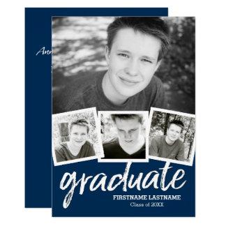 Navy Blue Graduation Announcement with 4 Photos