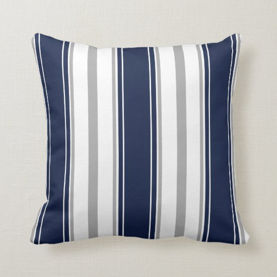 Navy Blue Gray and White Vertical Stripes Pattern Throw Pillow
