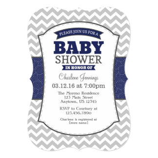 Navy Blue Gray Chevron Baby Shower Invitation