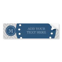 Navy Blue, Gray Chevron Pattern | Your Monogram Bumper Sticker