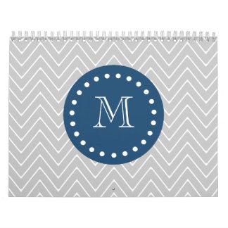 Navy Blue, Gray Chevron Pattern | Your Monogram Calendar
