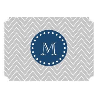 Navy Blue, Gray Chevron Pattern   Your Monogram Card