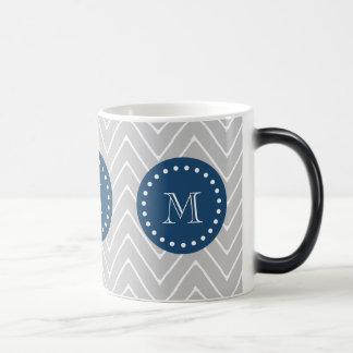 Navy Blue, Gray Chevron Pattern | Your Monogram Magic Mug