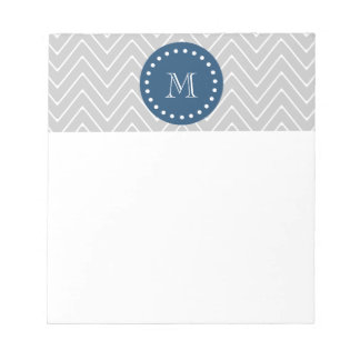 Navy Blue, Gray Chevron Pattern | Your Monogram Notepad