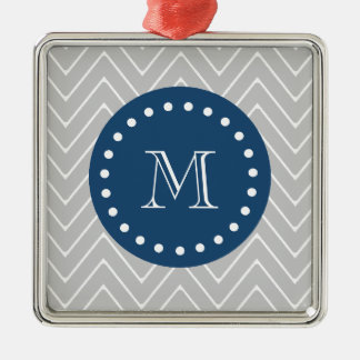 Navy Blue, Gray Chevron Pattern | Your Monogram Christmas Tree Ornament