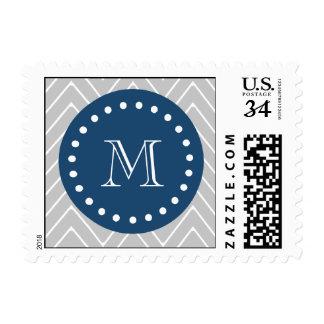 Navy Blue, Gray Chevron Pattern | Your Monogram Postage