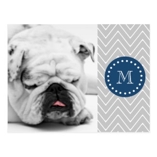 Navy Blue, Gray Chevron Pattern | Your Monogram Postcard