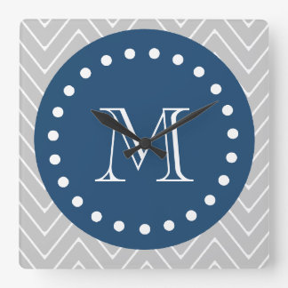 Navy Blue, Gray Chevron Pattern | Your Monogram Square Wall Clock