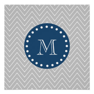 Navy Blue, Gray Chevron Pattern | Your Monogram Perfect Poster