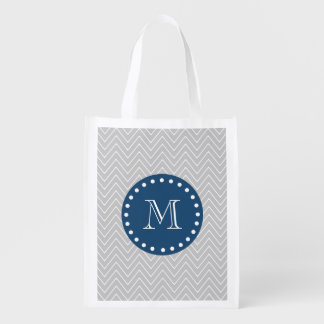 Navy Blue, Gray Chevron Pattern | Your Monogram Market Tote