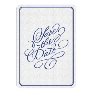 Navy Blue Gray Damask Elegant Script Save the Date Card