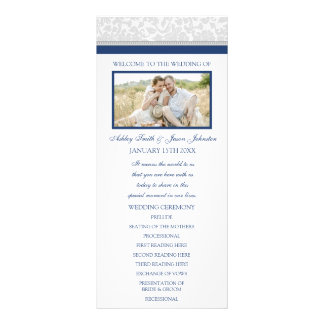 Navy Blue Gray Damask Photo Wedding Program