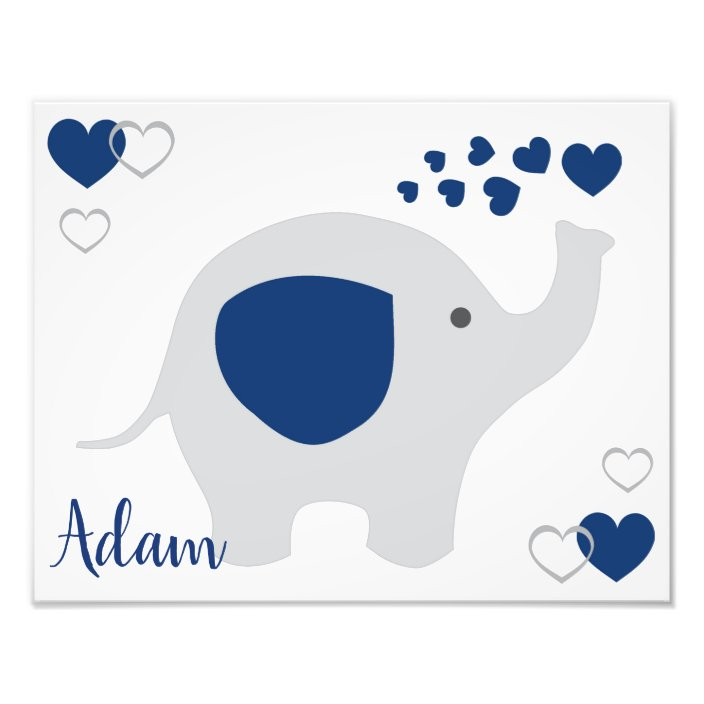 Elephant Baby Boy Nursery Wall Art