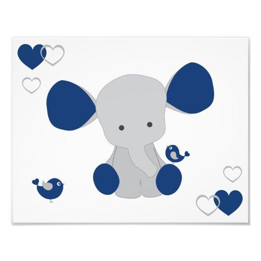 Navy Blue Gray Elephant Baby Boy Nursery Wall Art