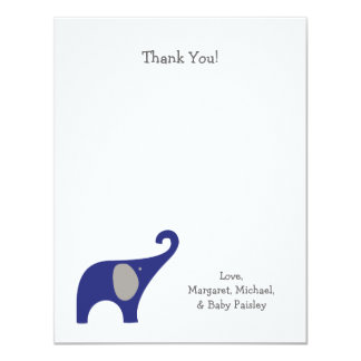 Navy Blue Gray Elephant Baby Thank You Notes Card