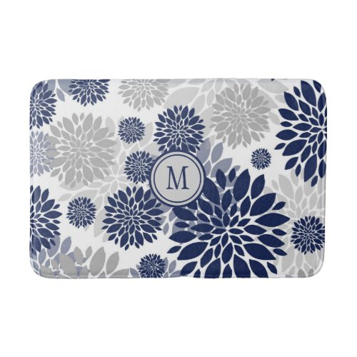 Navy Blue Gray Flower Graphic Pattern Bath Mat