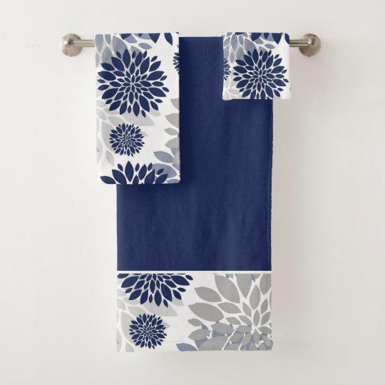 Navy Blue Gray Flower Graphic Pattern Bath Towel Set