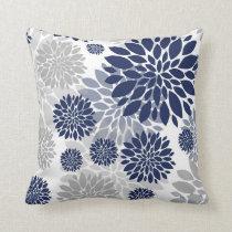 Navy Blue Gray Flower Pattern Throw Pillow