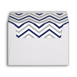 Navy Blue Gray Grey Chevron Lined Envelope