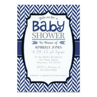 Navy Blue Gray Herringbone Baby Shower Invitations