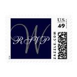Navy Blue Gray Monogram Wedding RSVP Postage