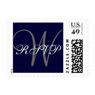 Navy Blue Gray Monogram Wedding RSVP Postage