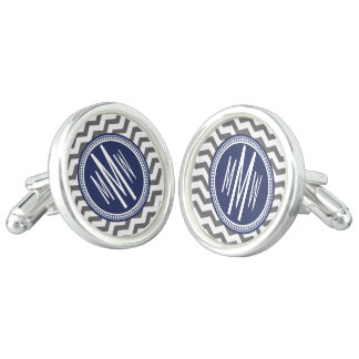 Navy Blue Gray Monogrammed Chevron Personalized Cufflinks