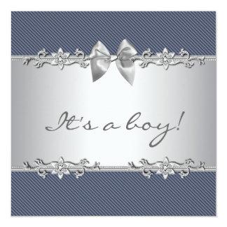 Navy Blue Gray Pinstripe Boy Shower Card