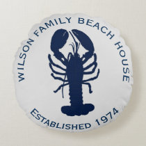 Navy Blue Gray Round Lobster Beach House Pillow