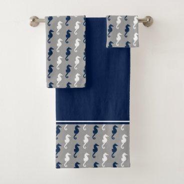 Beach Themed Navy Blue Gray Seahorse Pattern Bath Towel Set