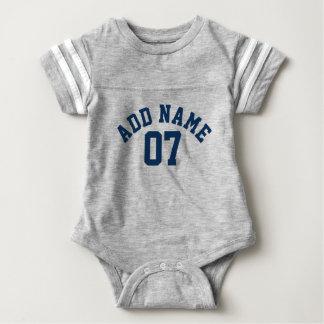 Navy Blue & Gray Sports Jersey Custom Name Number Baby Bodysuit